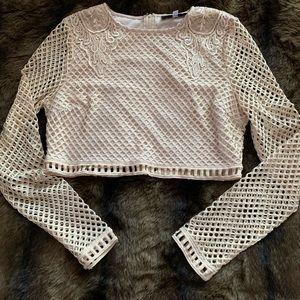 Long sleeve crop top w/shoulder embellishments